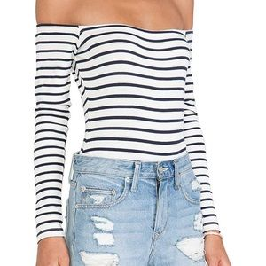 Tops - Black & White Striped Off the Shoulder Bodysuit